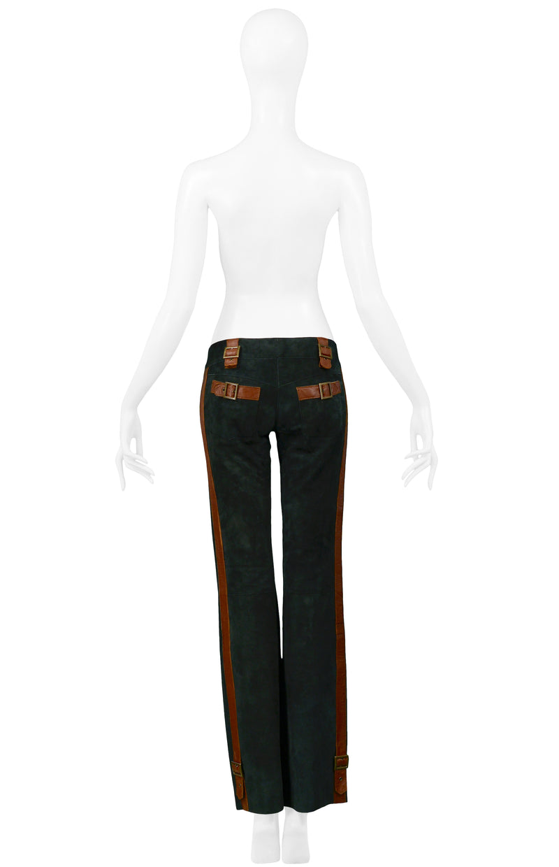 DOLCE GREEN SUEDE & BROWN LEATHER TRIM PANTS