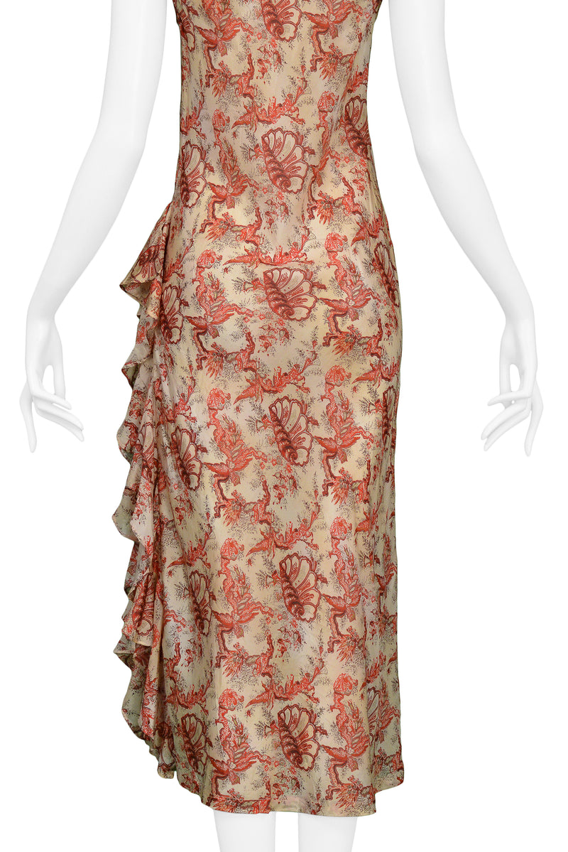 DRIES RED & CREAM SHELL PRINT RUFFLE SLEEVELESS DRESS 1998