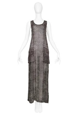 DRIES GREY AND GREEN MAXI SLIP DRESS WITH POCKETS 1999