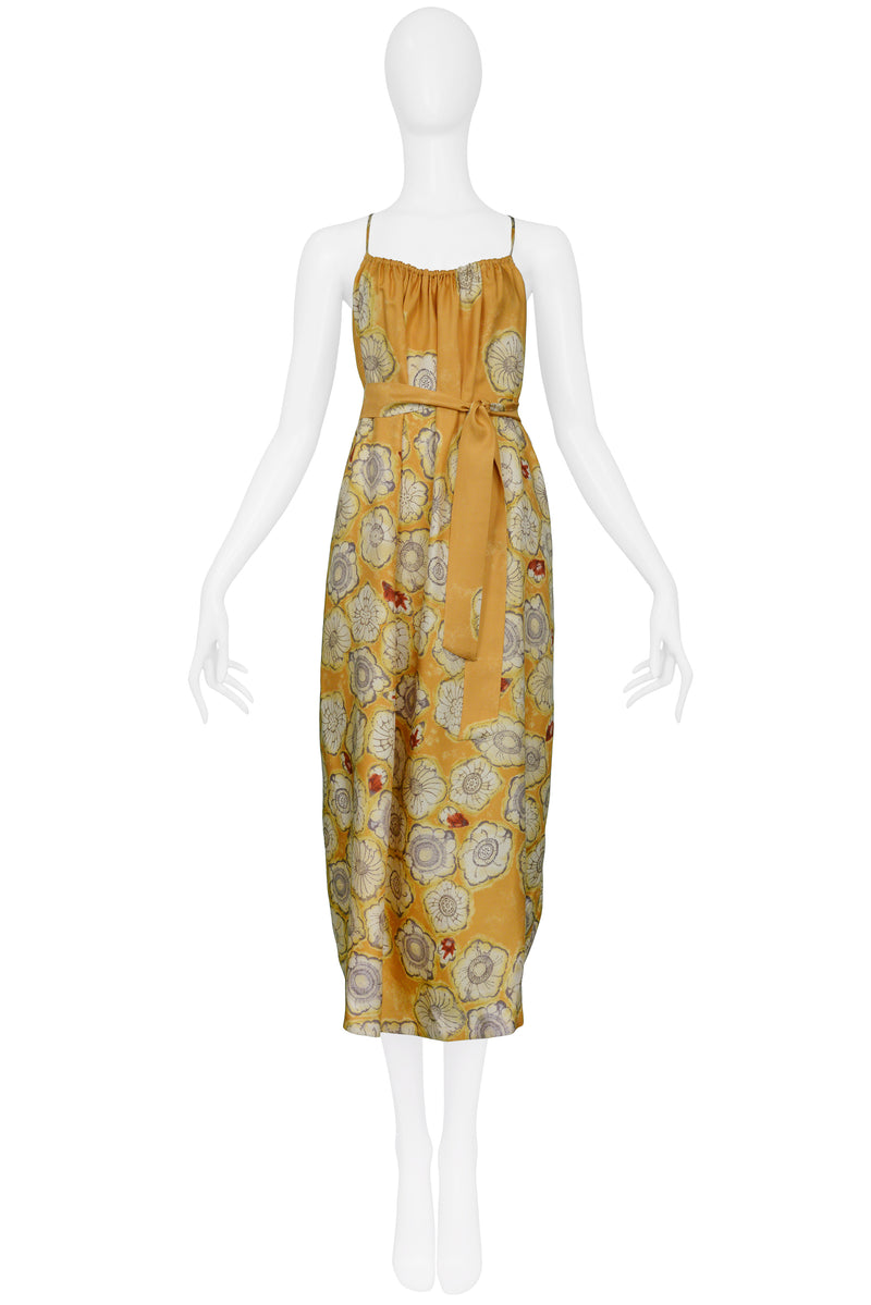 DRIES YELLOW GOLD FLORAL SLIP DRESS & SASH