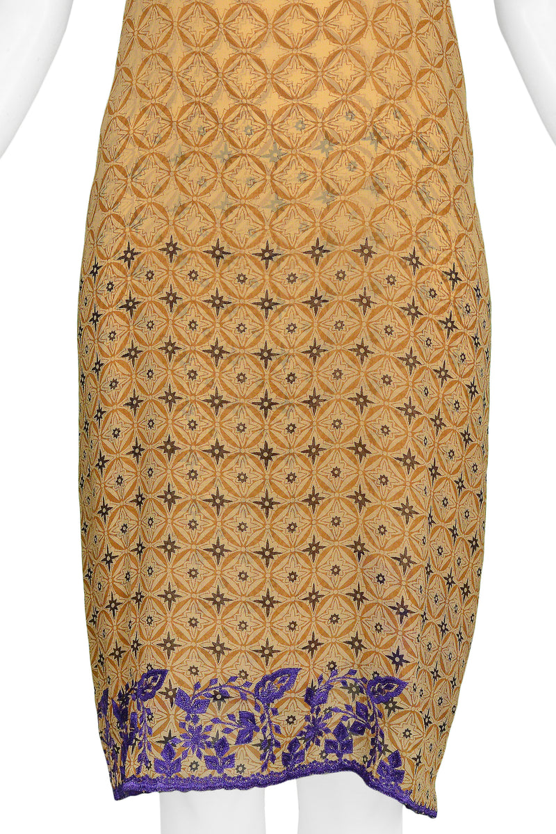 DRIES TAN AND PURPLE EMBROIDERED SLIP DRESS
