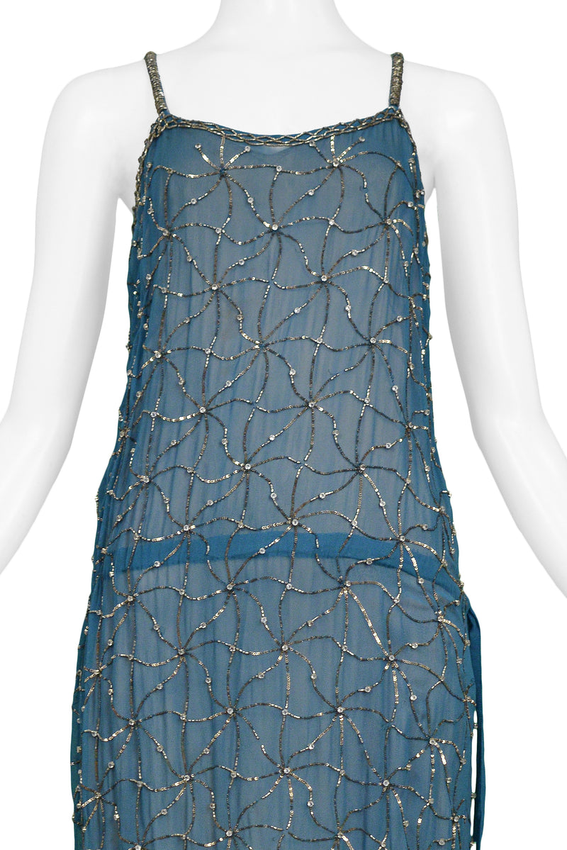 DRIES TEAL BEADED SLIP DRESS WITH DRAWSTRING WAIST