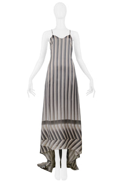 DRIES WHITE & BLACK STRIPE BUSTLE GOWN 1997