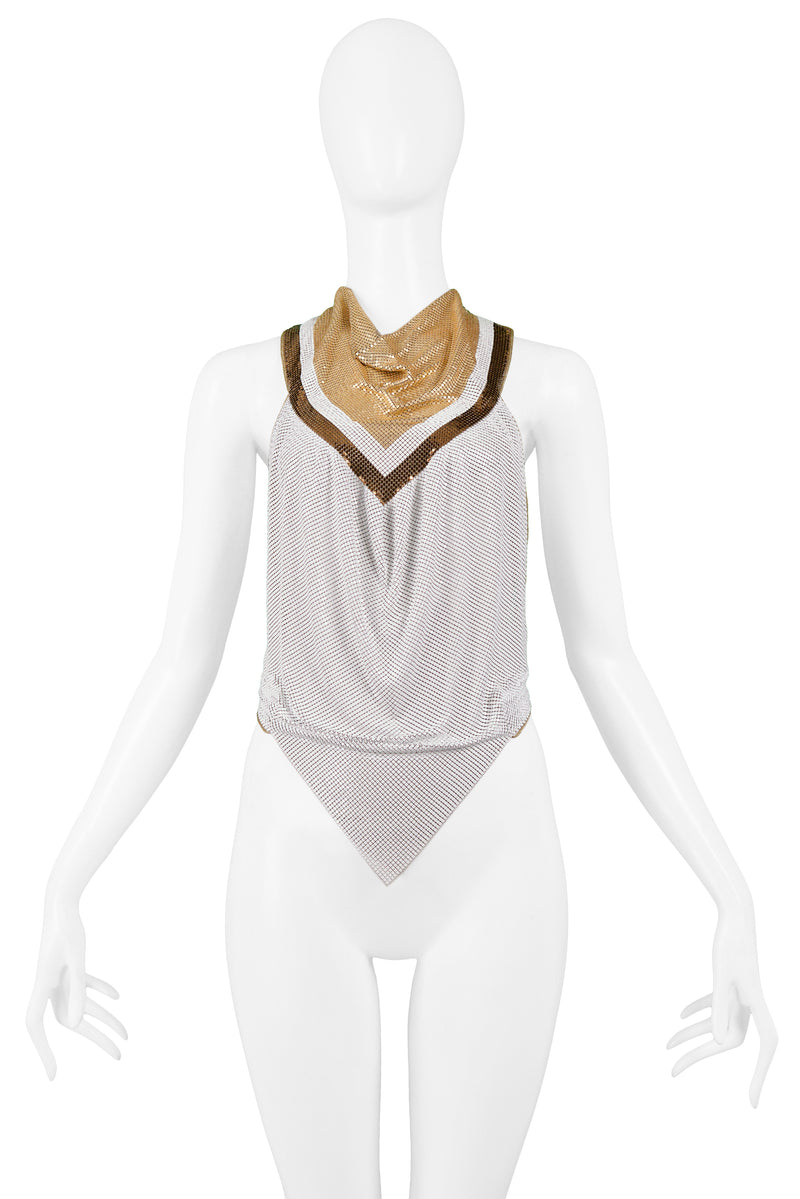 FERRARA GOLD WHITE & BRONZE CHAINMAIL COWL NECK TOP