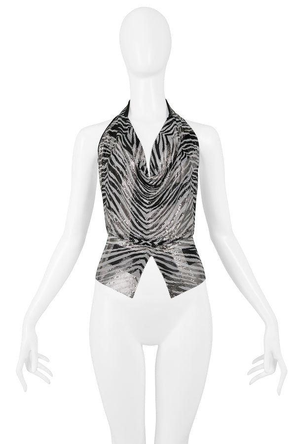 FERRARA ZEBRA CHAINMAIL TOP WITH CUT OUT