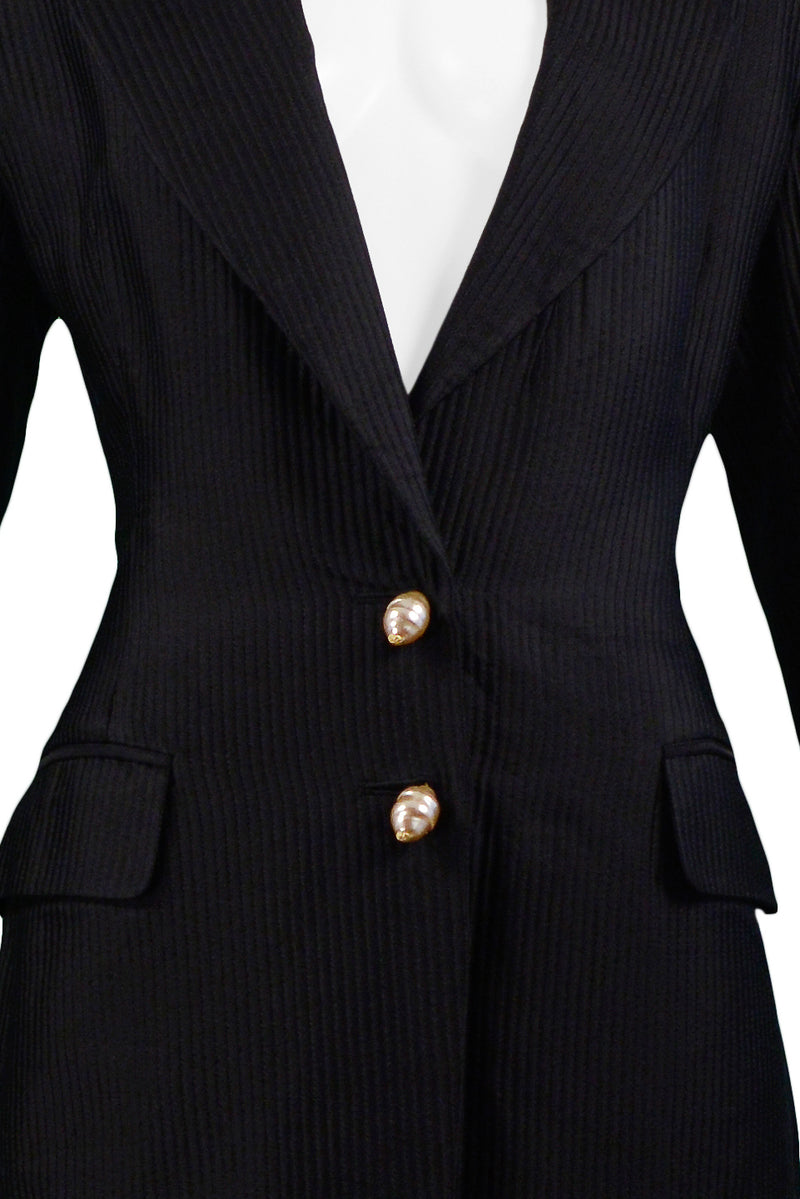 FERRE BLACK BLAZER WITH WHITE & SILVER BEADING & EMBROIDERY 1993