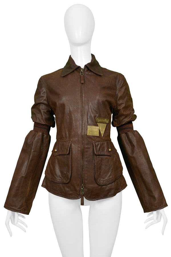 FERRE BROWN LEATHER AVIATOR JACKET WITH BRASS HARDWARE