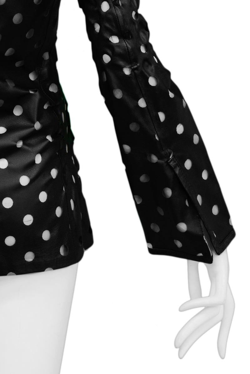 FERRE BLACK LEATHER CUT-OUT DOT JACKET