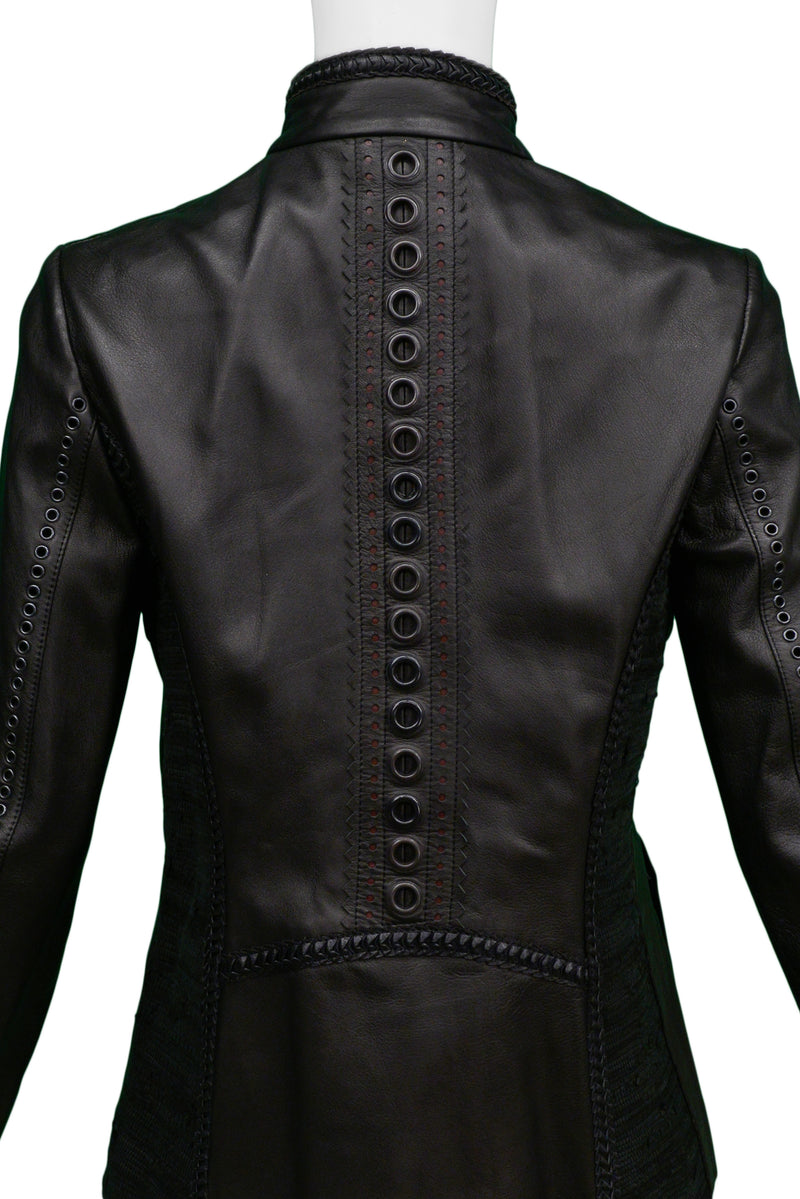 FERRE BLACK MOTORCYCLE LEATHER JACKET WITH FUR TRIM