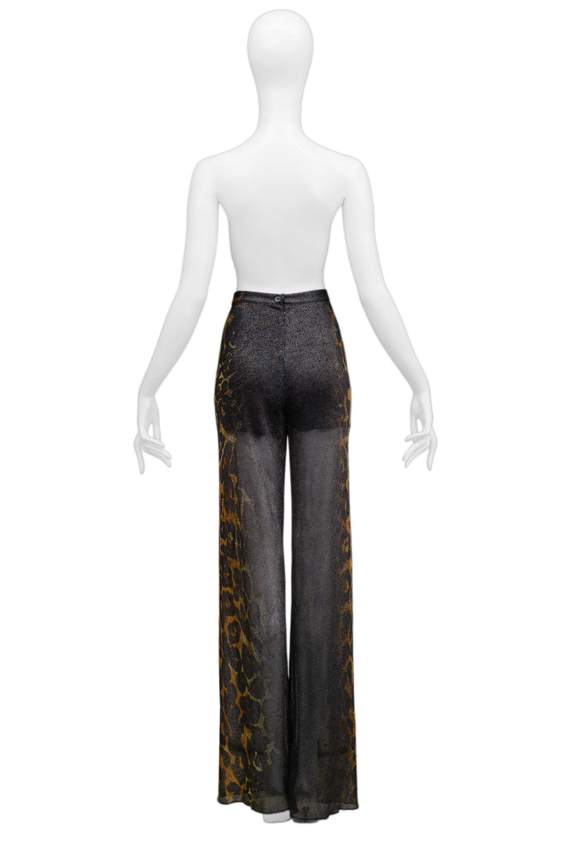 FERRE BLACK & LEOPARD PRINT SHEER PANTS