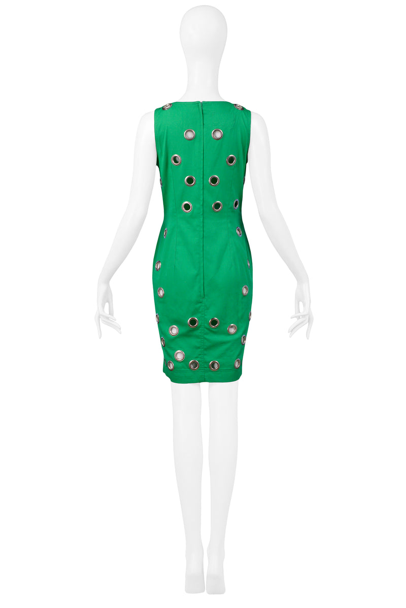 FERRETTI GREEN SLEEVELESS GROMMET DRESS