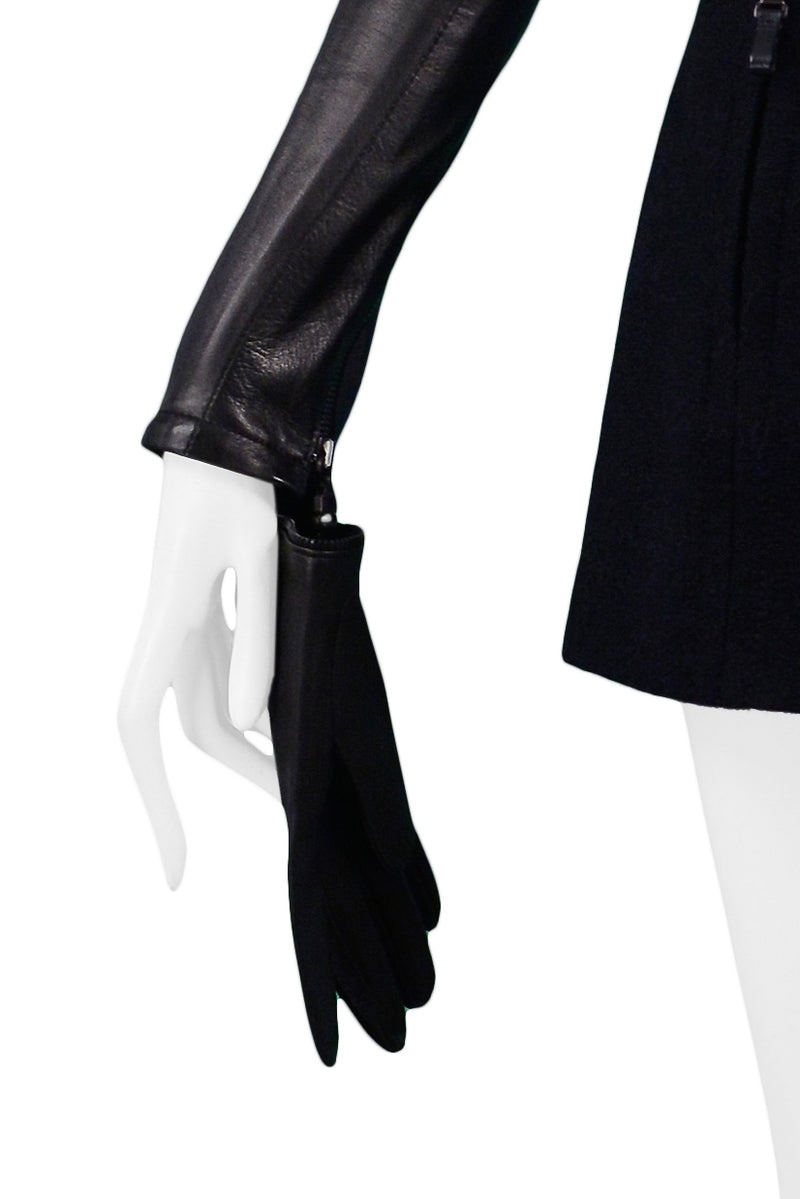 FERRE BLACK WOOL & LEATHER GLOVE JACKET 1999