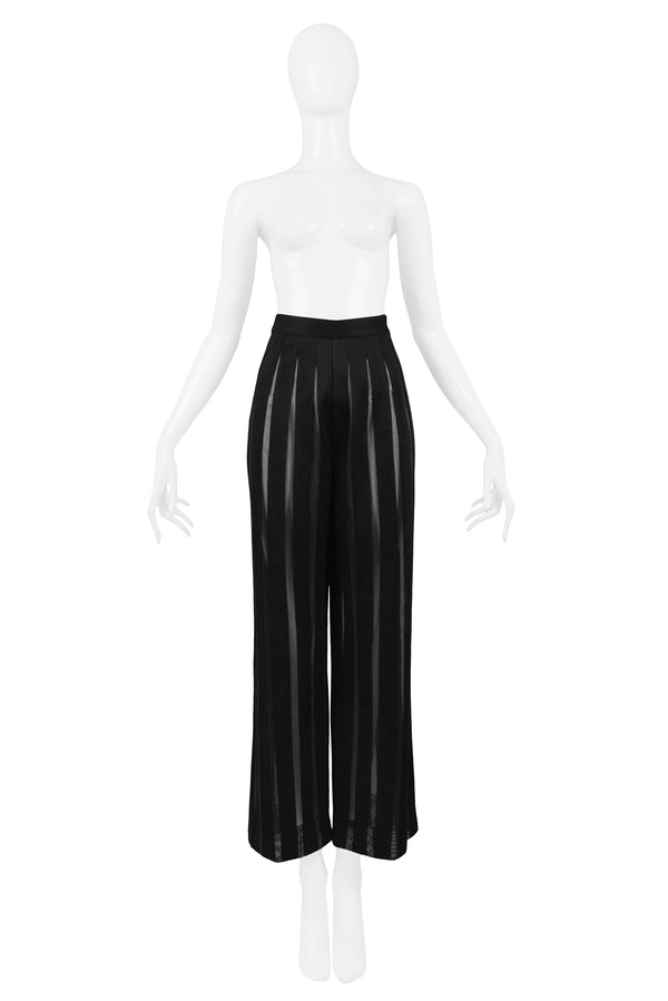 FERRE BLACK KNIT PANTS WITH SHEER PANELS