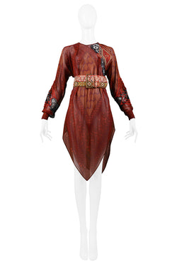 FERRE BURGUNDY PRINTED TUNIC & EMBROIDERED BELT