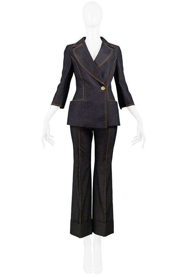 FERRE DENIM INSPIRED WOOL SUIT WITH YELLOW STITCHING 1999