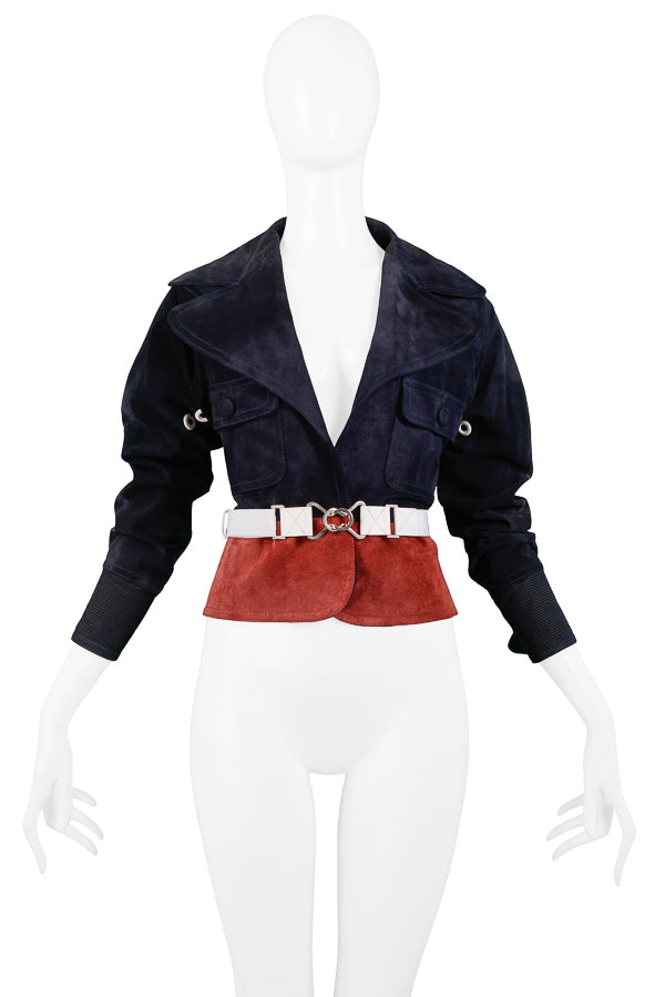 FERRE NAVY & BURGUNDY SUEDE BELTED JACKET