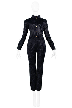 FERRE FAUX FUR VELVET AND DOUBLE KNIT PANTSUIT ENSEMBLE