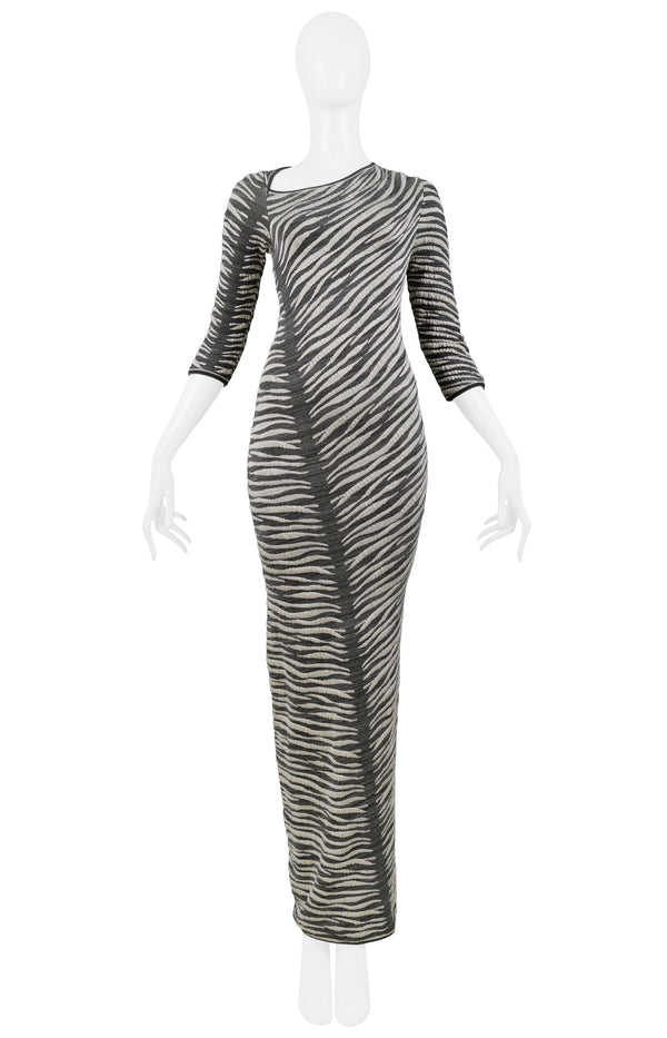FERRE GREY & WHITE ZEBRA STRIPE MAXI DRESS 1999