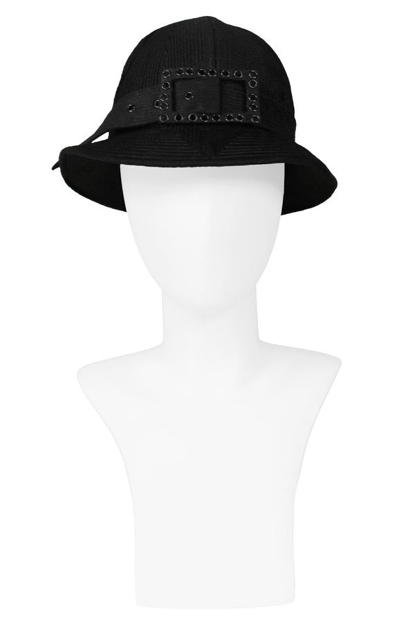 GALANOS FANCY BLACK BUCKLE HAT