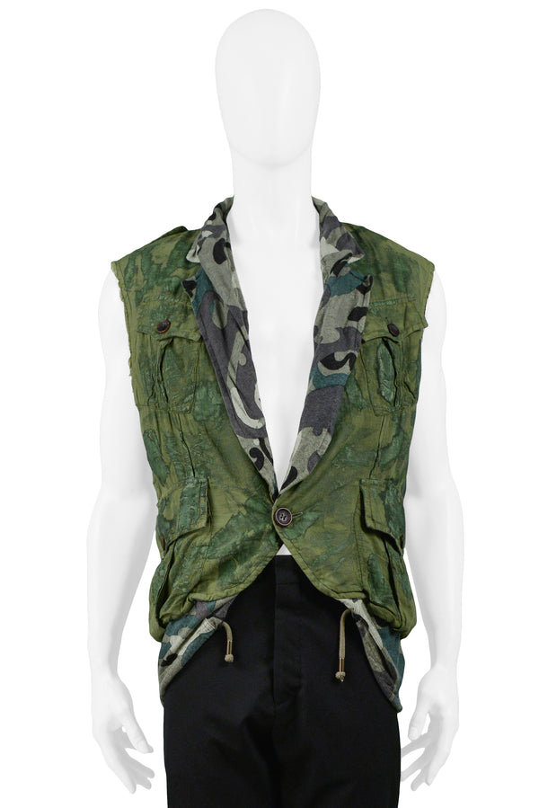 GALLIANO ARMY VEST WITH SKULL DECAL SS 2008