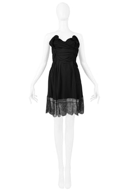 GALLIANO BLACK STRAPLESS TWIST DRESS WITH LACE TRIM AW 2010