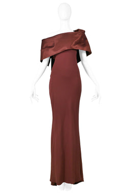 GALLIANO BURGUNDY SATIN COLD SHOULDER GOWN