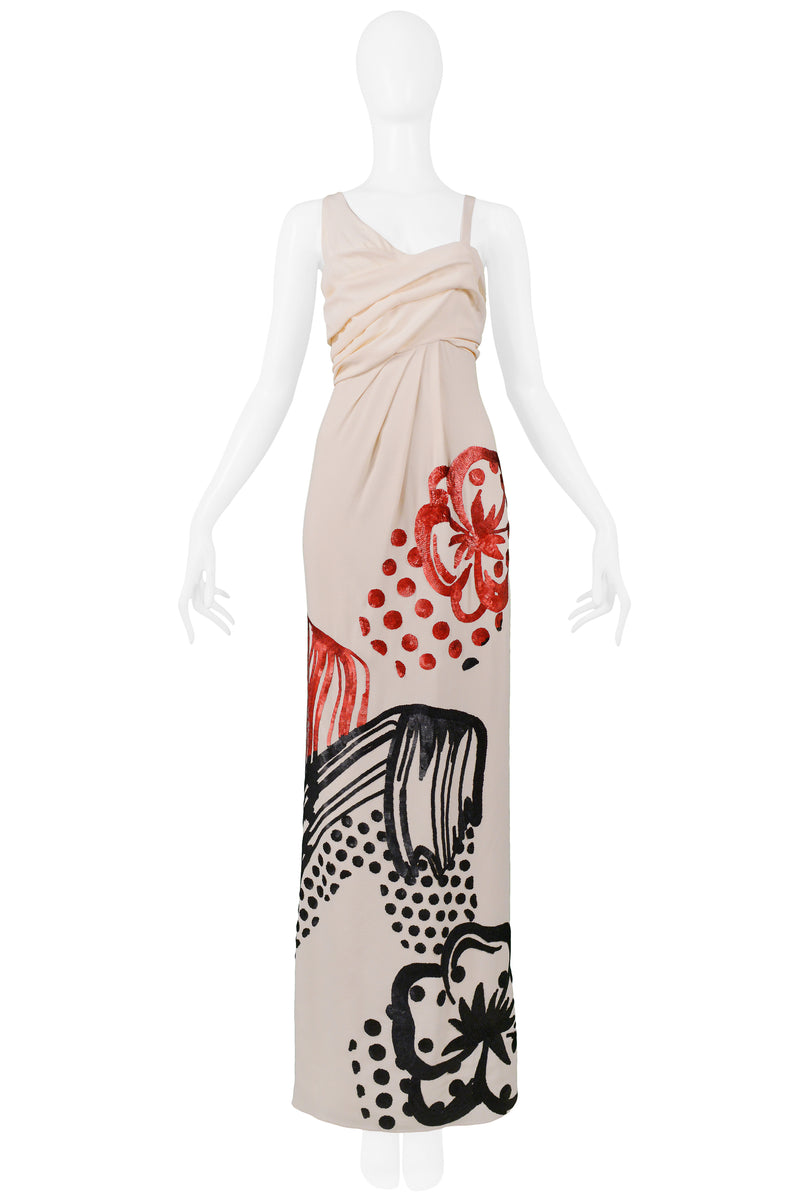 GALLIANO CREAM GOWN WITH BLACK & RED SEQUINS