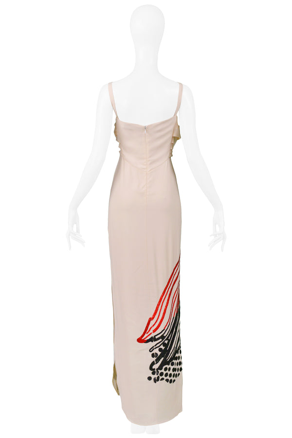 GALLIANO CREAM GOWN WITH BLACK & RED SEQUINS 2007