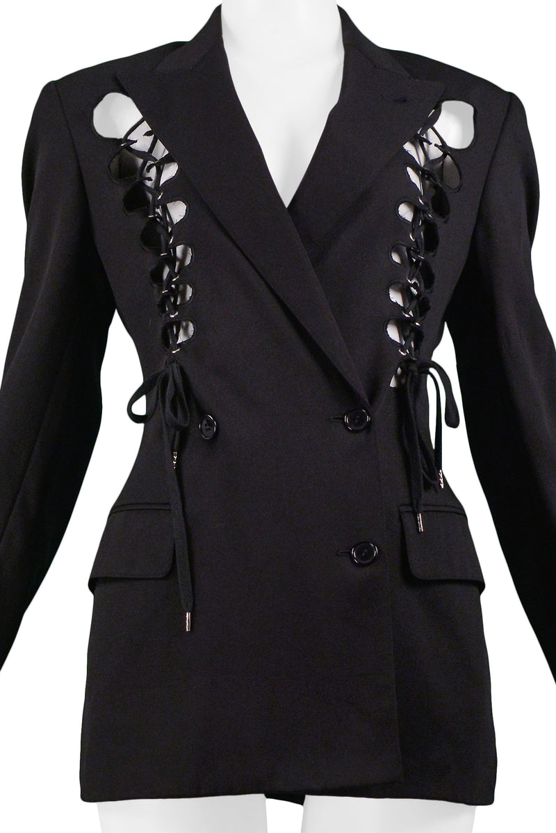 GAULTIER BLACK CORSET FRONT DOUBLE BREASTED BLAZER