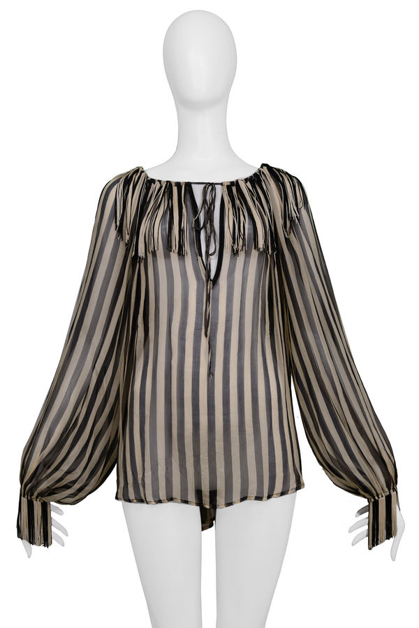 GAULTIER BLACK & CREAM POET BLOUSE 2008