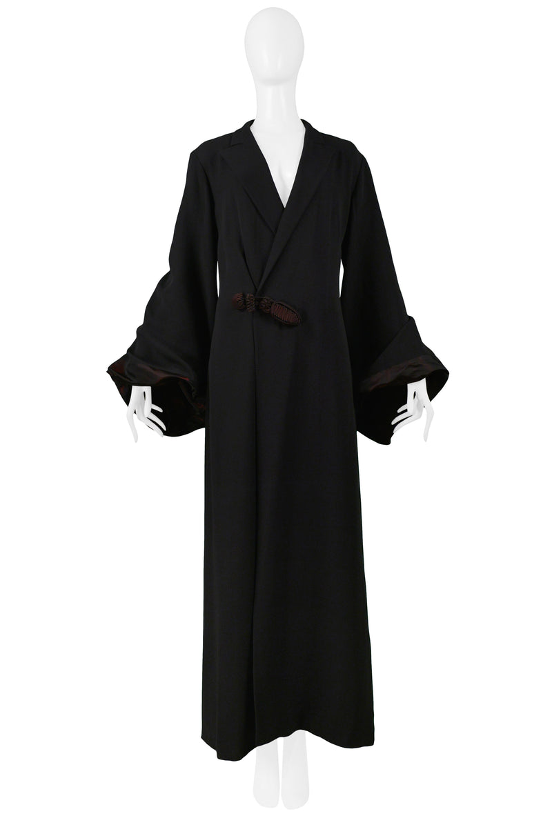 GAULTIER BLACK KIMONO ROBE COAT WITH BURGUNDY TAFFETA BUBBLE SLEEVES