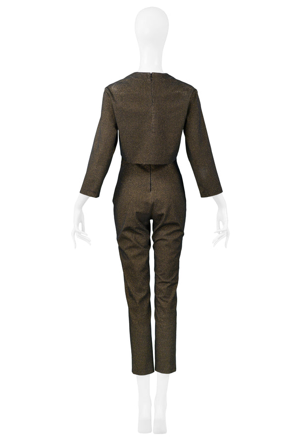GAULTIER BRONZE METALLIC JUMPSUIT & CROPPED JACKET ENSEMBLE
