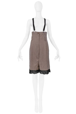 GAULTIER BROWN CHECK HIGH WAISTED SUSPENDER SHORTS