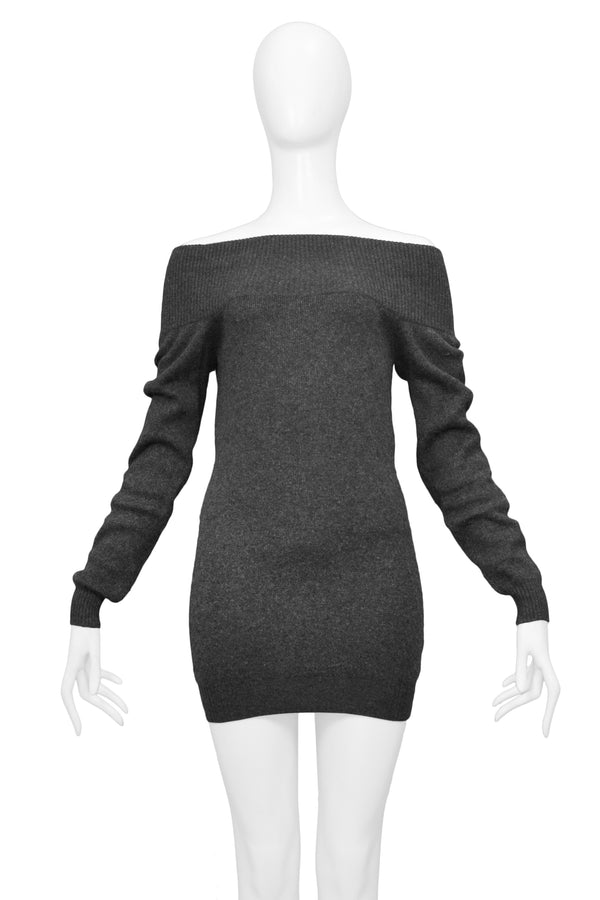 ROMEO GIGLI GREY COLD SHOULDER SWEATER DRESS