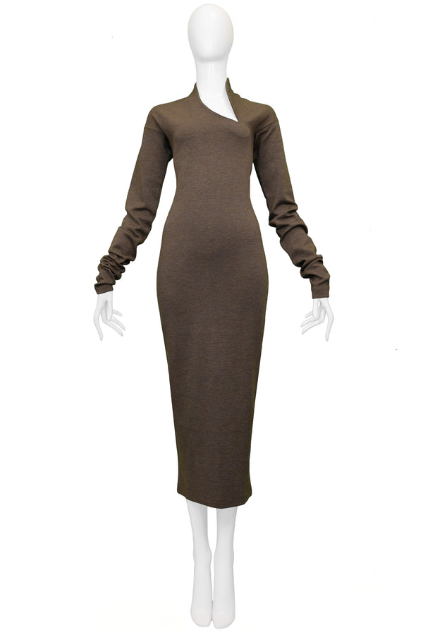 ROMEO GIGLI OLIVE WOOL BODYCON SCULPTURAL DRESS 1989/90
