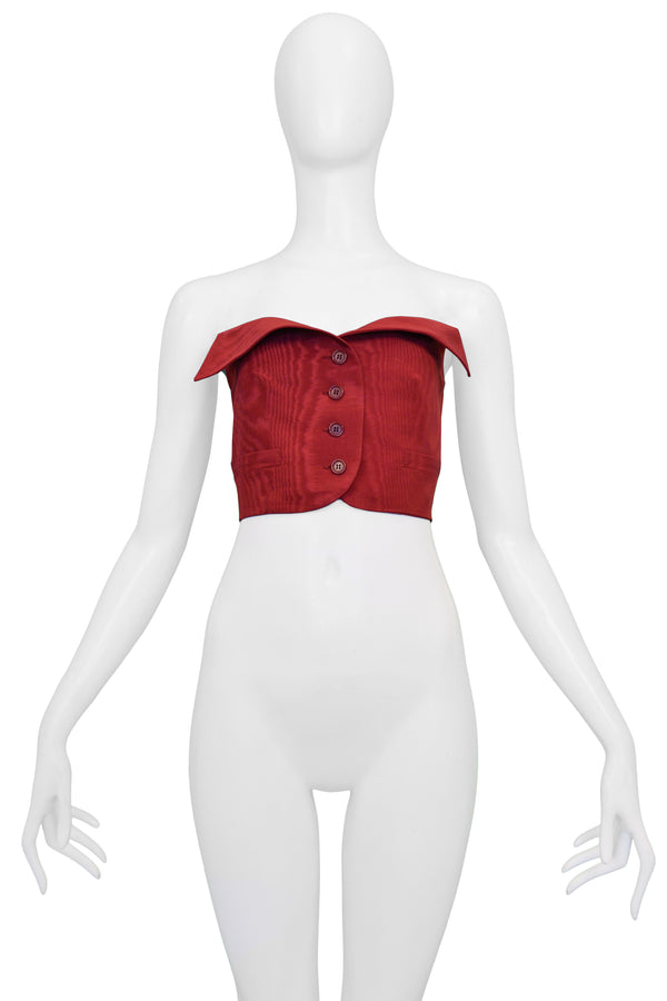 ROMEO GIGLI BURGUNDY MOIRE BUSTIER WITH BUTTONS