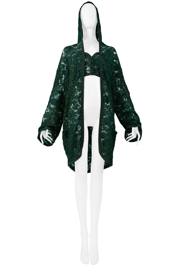 GIGLI GREEN LACE HOODED JACKET