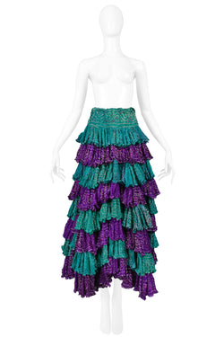 GIGLI PURPLE & GREEN WASHED SILK RUFFLE PATIO SKIRT 1990