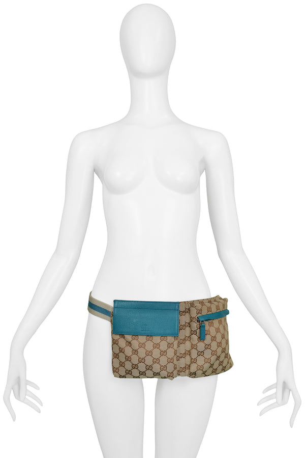 GUCCI LOGO & TEAL WAIST BAG BELT