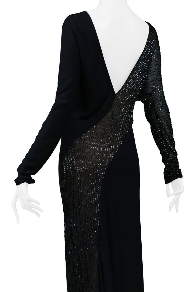 HALSTON BLACK & SHEER BEADED GOWN