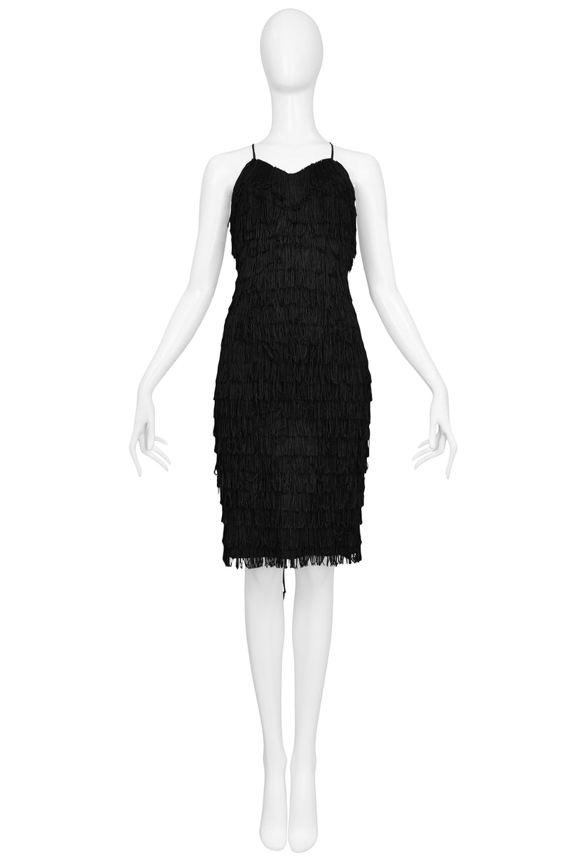 HAMNETT BLACK FRINGE COCKTAIL DRESS