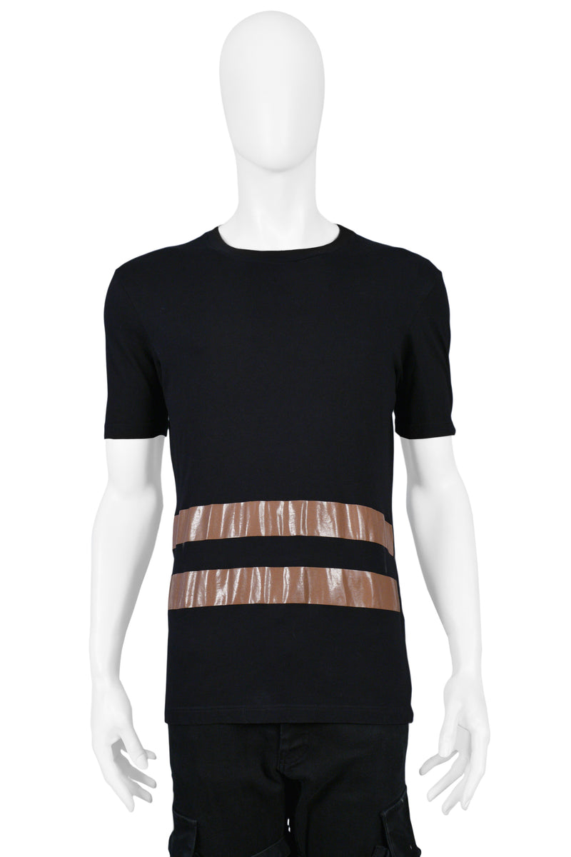 HELMUT LANG BLACK T SHIRT WITH BROWN STRIPES 1996