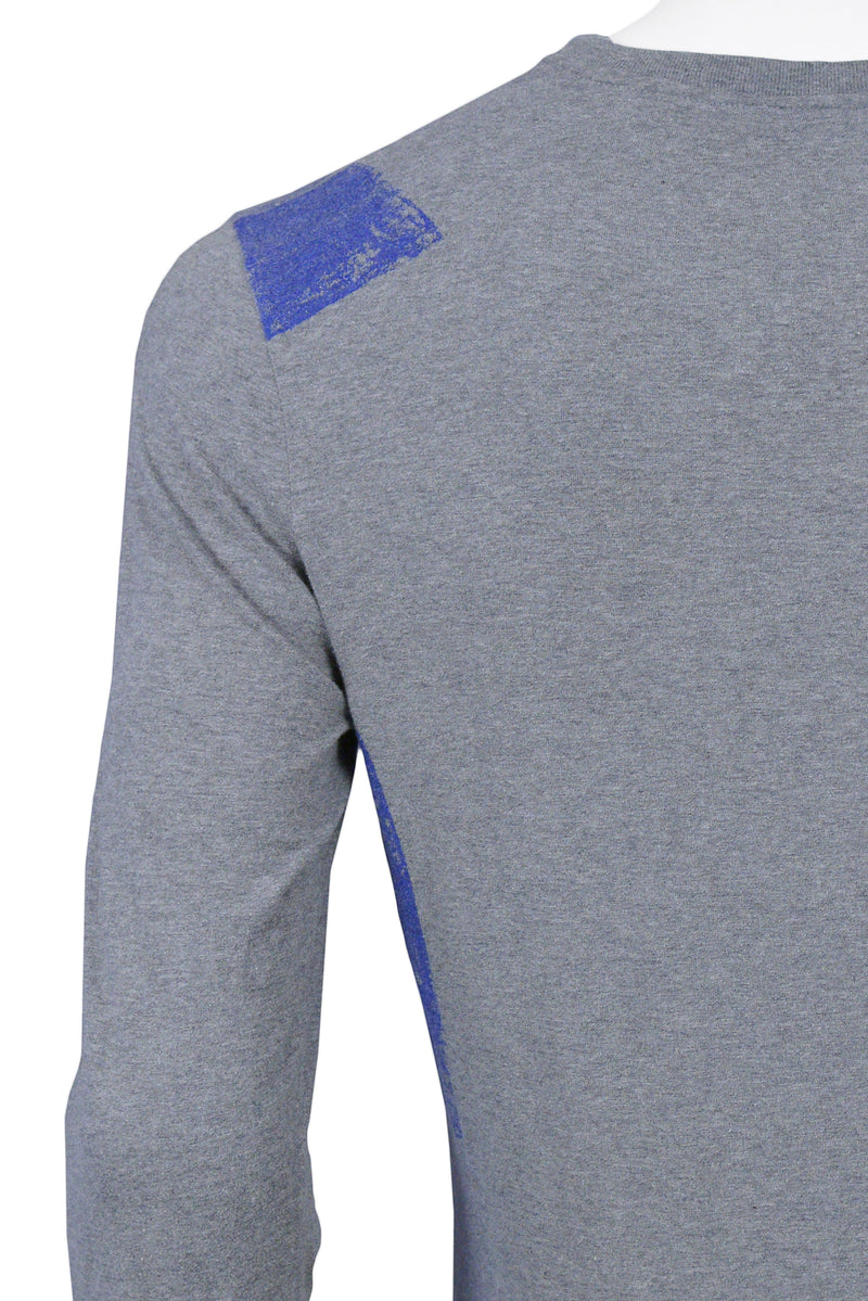 HELMUT LANG GREY & BLUE LONG SLEEVE T-SHIRT 2003