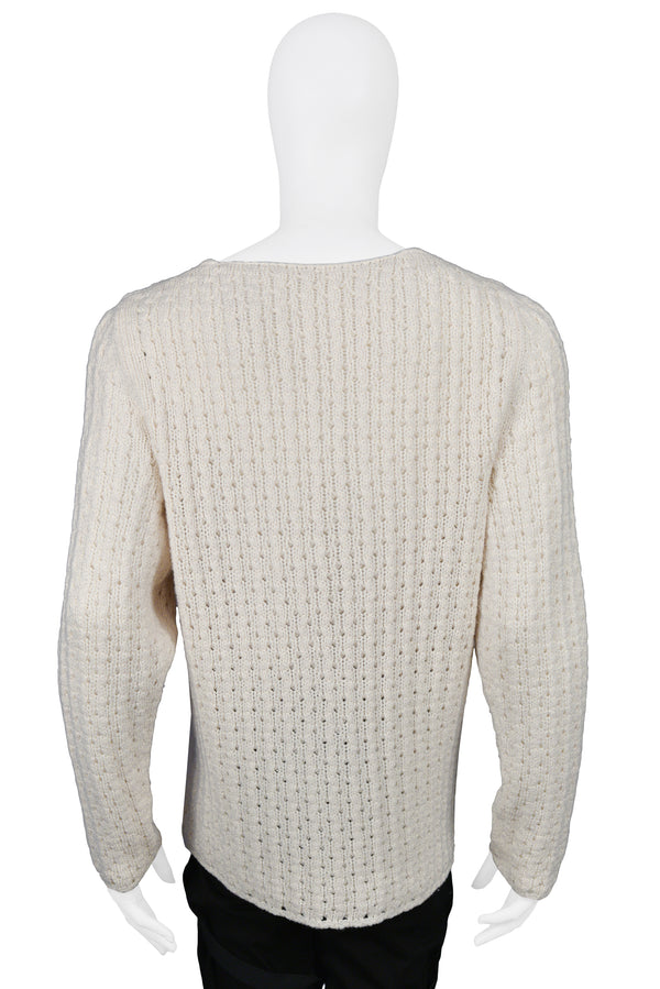 HELMUT LANG OFF WHITE KNIT SWEATER