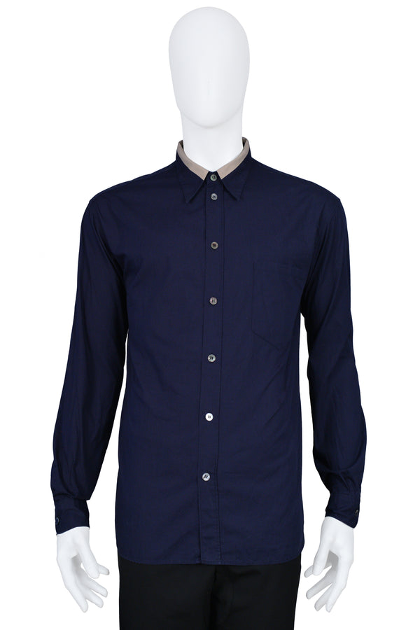 HELMUT LANG NAVY SHIRT WITH TAN COLLAR