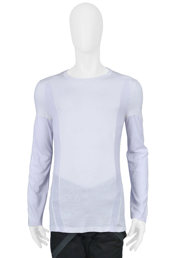 HELMUT LANG WHITE & BLUE INSET LONG SLEEVE T SHIRT 2003