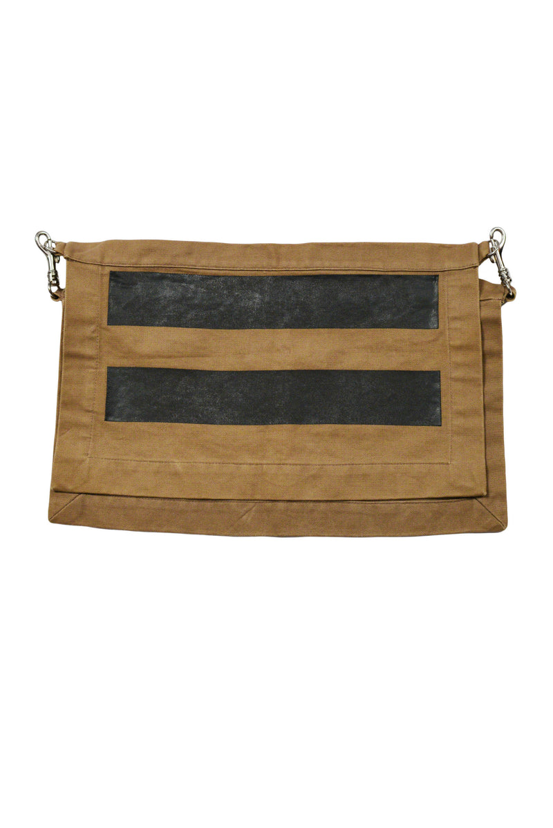 HELMUT LANG 1996 CAMEL & BLACK STRIPE WAIST ACCESSORY W/ METAL CLIPS