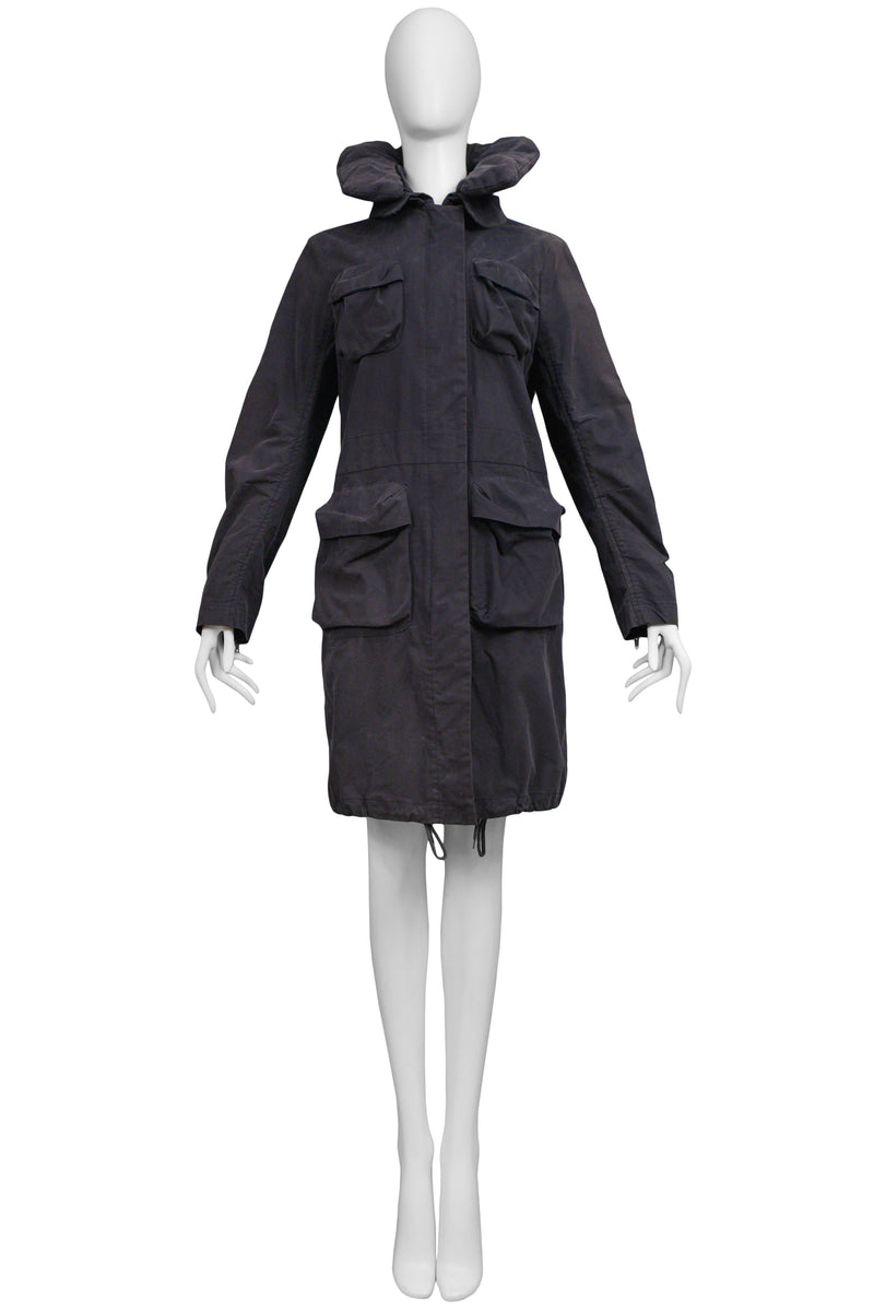 HELMUT LANG NAVY 4 POCKET BONDAGE COAT