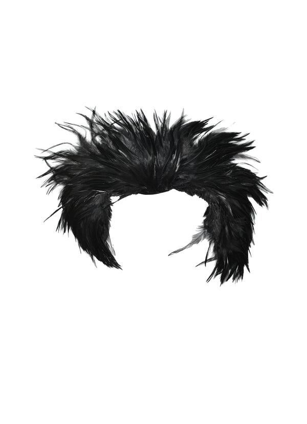 HELMUT LANG 2000 SS BLACK FEATHER MINI BOA