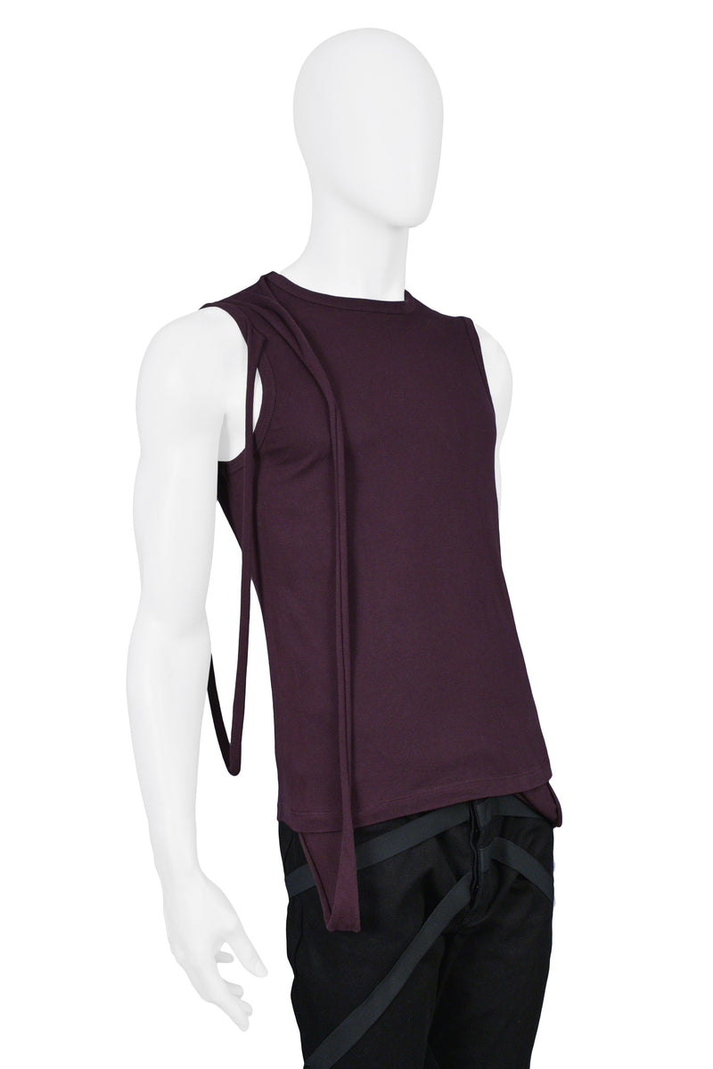 HELMUT LANG DARK PLUM MULTI-STRAP SLEEVELESS SHIRT